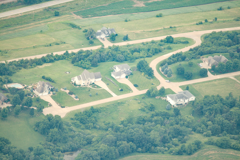 Aerial photo of nephew Chris and Heather's house, 3rd from left.