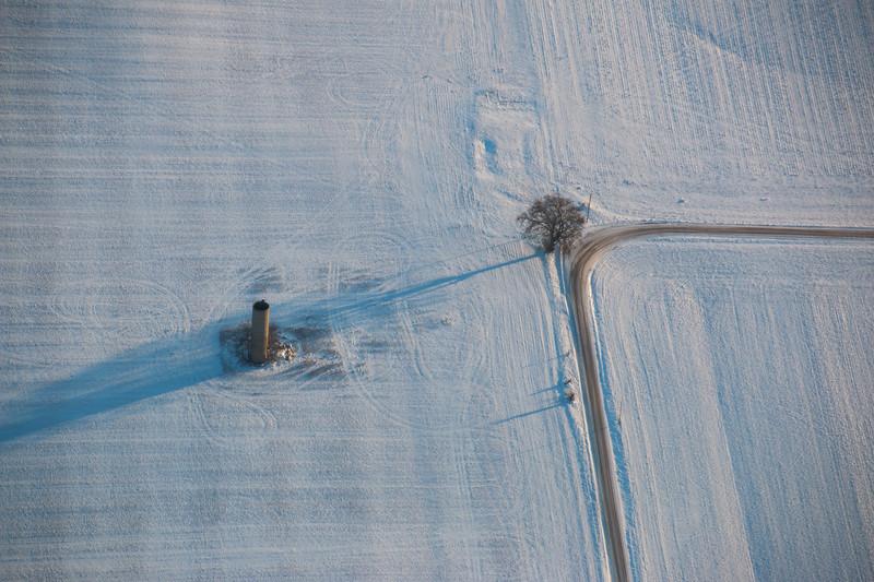 A snow scene in rural Illinois