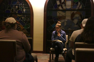 On night one of Campus Ministry's annual Celebration Week, students gathered to begin with in the Tucker Student Center Chapel to hear a short devotional and pray together. Following that time, Junior, Sarah Branch, led them into Stewart Hall to pray over the stage and every seat that would be filled in the coming week with students from all backgrounds hearing the Word shared.
