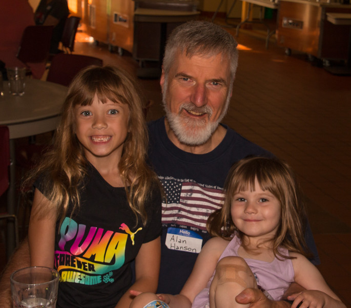 Alan Hanson and his granddaughters Violet Collins and Ariana Fitzgerald