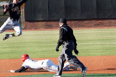 Barrett Hennings slides in to second base