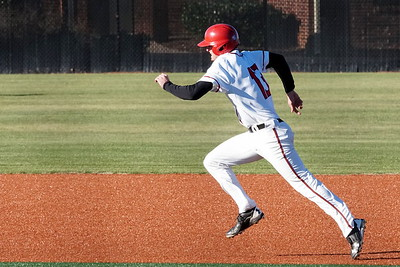 Barrett Hennings sprints to second base
