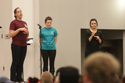 Senior, Rian Fischer and Junior, Lexi Keller shared with the crowd a little bit about what their trip last Spring Break was like to the Haiti Deaf Academy and what the money raised at the Benefit Concert would be going towards.