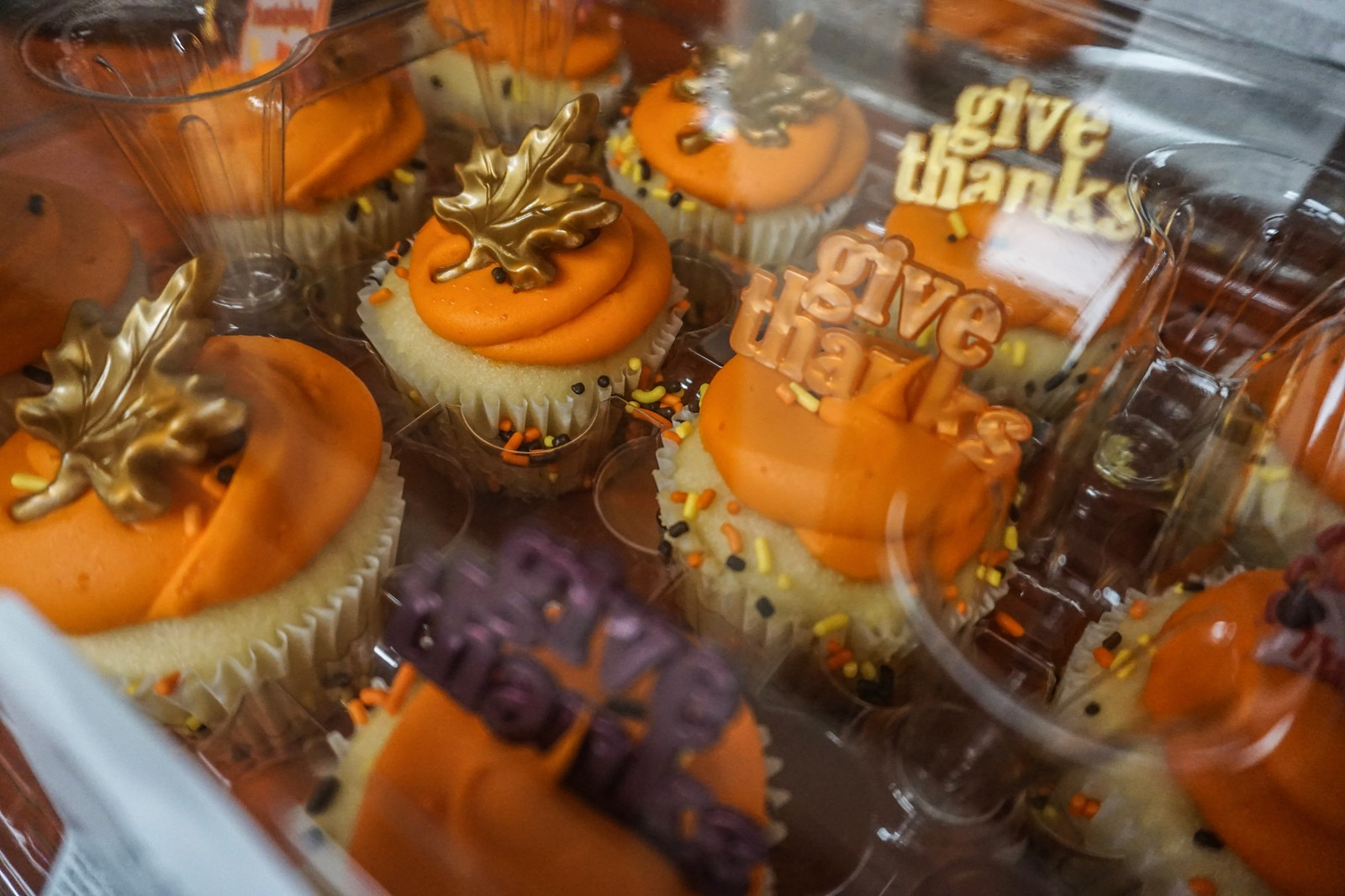 Some of the treats, like these cupcakes, were Thanksgiving themed.