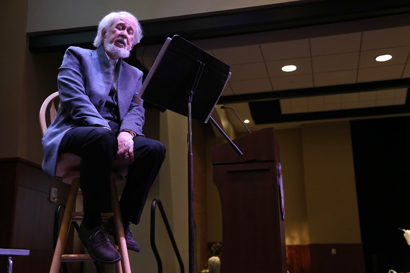 Soon to retire, Communications Professor, Joseph Webb,  performed Christmas songs at the second annual Parade of Tables in the Tucker Student Center at 6:30pm on November 10th raising money for the Bulldog Backpack Program.