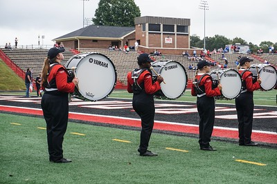 Part of Gardner-Webb's marching band on the football field