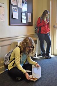 Mckenzie Auten and Kayra Osborne relax before class