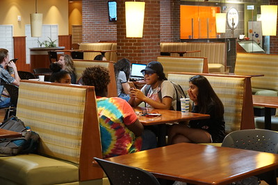 Ashley Keith, Jada Robbs, Jasmine Mohamed and Sapna Patel enjoying free time in Tucker Student Center.