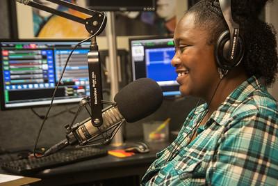 "Senior Public Relations major, Hannah Davis, hosts her 12:30 radio show at Gardner-Webb's WGWG.org radio station titled ""Lunchtime Treat."""