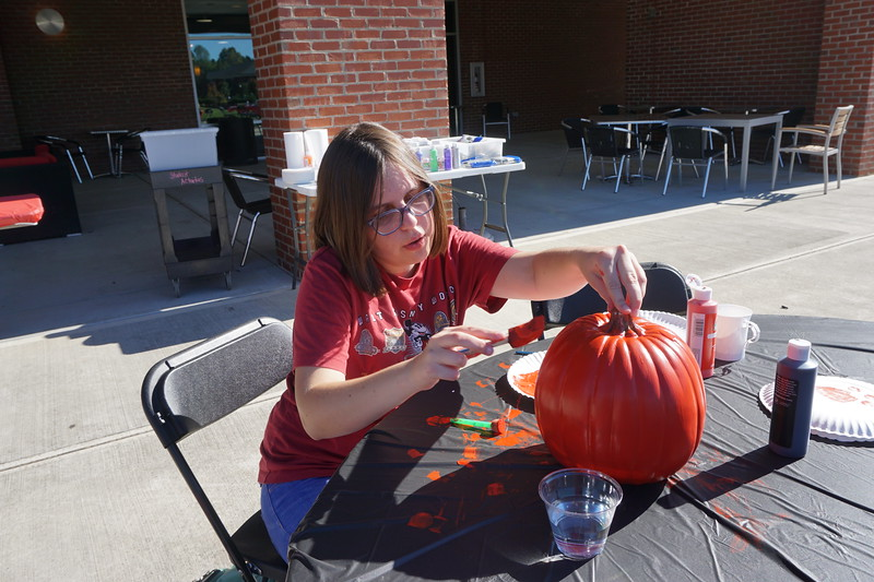 Meg Hibbitts showed her school spirit by painting her pumpkin with Gardner-Webb colors.