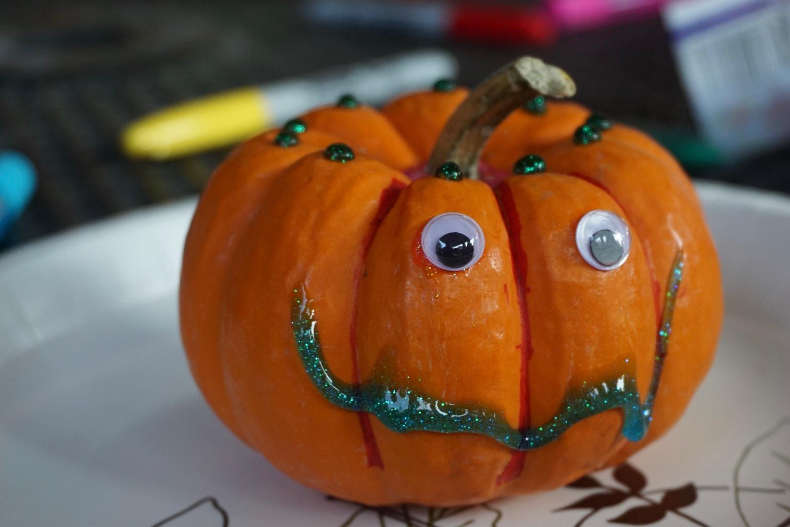 A decorated pumpkin