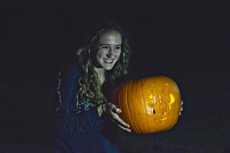 Laura Denman showing off her Pumpkin Carving skills!