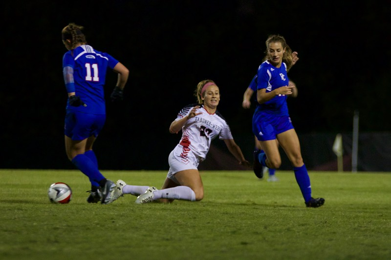 """On Wednesday, October 18th, GWU Women's Soccer defeated Presbyterian College 2-0 in their """"Think Pink"""" Breast Cancer Awareness Game."""