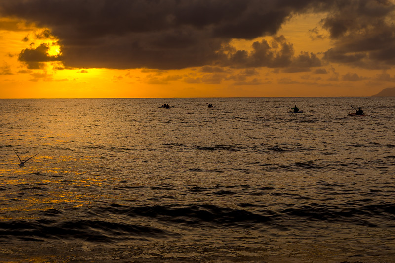 Sunrise and Kayaks