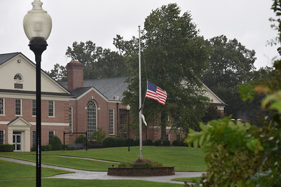 The American Flag flies at half mast, for the remembrance of 9/11, braving the strong winds and chilling rain brought in by Hurricane Irma