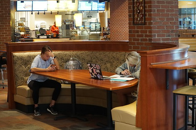 Erin Shamleffer and Keely Brown studying in Tucker Student Center.