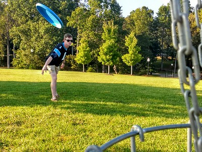 Kyle Tucker enjoys his Wednesday afternoon playing Frisbee Golf around the GWU campus.