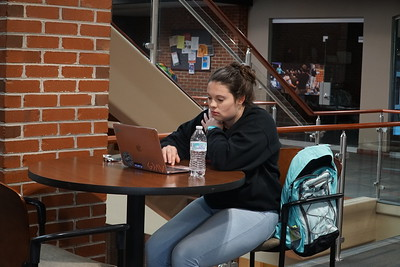 Shelby Watkinson enjoys some study time at the Tucker Student Center