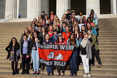 The Gardner-Webb students showed some Bulldog pride on the steps of the Lincoln Memorial.