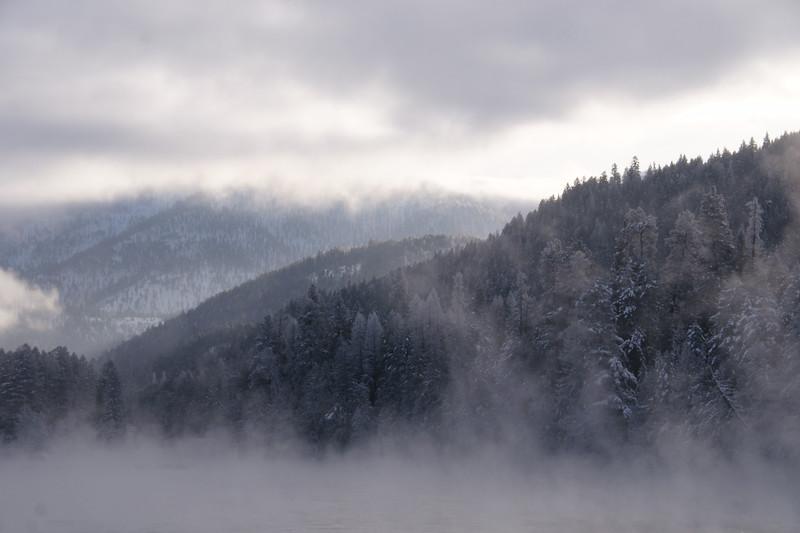 Early Morning Fog Hides the Kootenai River on a Subzero Day, Libby, MT