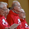 The jubilarians at the start of Mass: Fr. Ed, Fr. Johnny and Fr. Paul