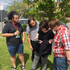 2017 RESESS interns Steven Moran, Fatima Niazy, and Theron Sowers learn about GPS with UNAVCO field engineer Spence Niebuhr.  (Photo/Aisha Morris, UNAVCO)