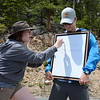 University of Colorado Interns Jacky and Simon lead a discussion on geology in Rocky Mountain National Park.  (Photo/Ellie Ellie, USIP Intern)
