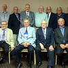 "THE REUNION ""CREW""   (""CASEY"" JONESAND CECIL PETERSON MISSING FROM PICTURE) FRONT ROW:  L TO R JOE BAUER, JOE MITCHELL, ROGER EBERHARDY, STEVE LUTTRELL; BACK ROW: L TO R DICK MARCHAM, PHIL ZIPP, DUANE FERENCE, LARRY SEEM, WHEELER GILL, DON HEMPSTEAD, ED KIMAK, JERRY HANSEN, PAUL GOLDBERG"