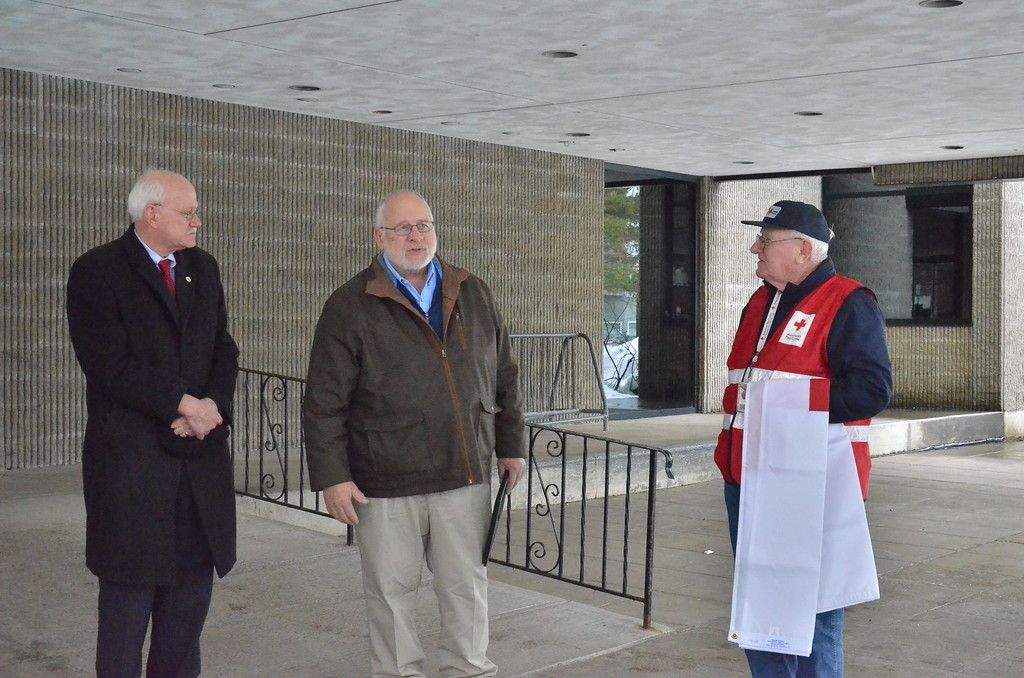 . Leah McDonald - Oneida Daily Dispatch From left, Pat Powers, Oneida Mayor Leo Matzke, and Carl Carlstead stand outside City Hall on Friday, March 24, 2017.