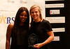 HOLLY PELCZYNSKI - BENNINGTON BANNER 2017 female athlete of the year Emily Altland stands with three time Olympian gold medalist Gabby Douglas.