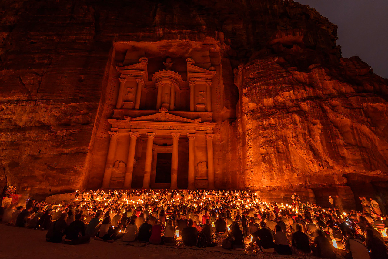 Crowds at Petra by night, Jordan