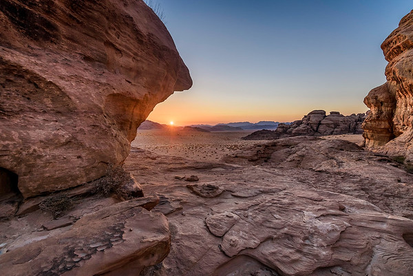 View of Wadi Rum at sunset