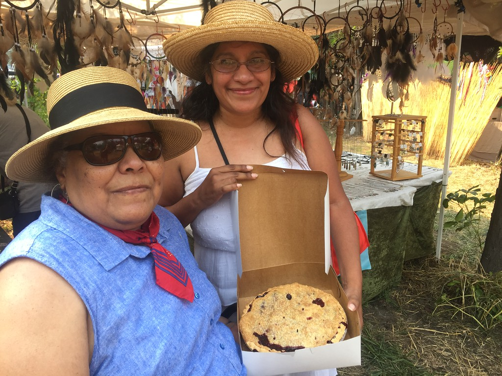 . Teresa Aguilar and Christina Luna showing off their prized blackberry pie at the Round Valley Blackberry Festival. Hillary Ojeda-The Willits News