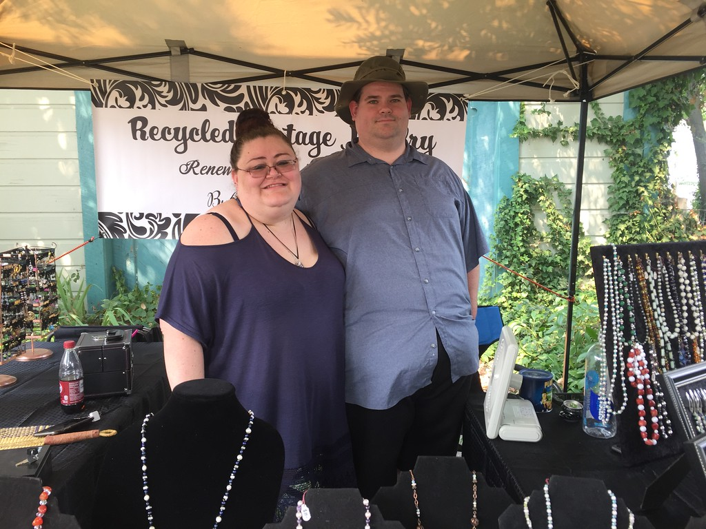 . Bethany Soulliere and Benjamin Kruger working at their Recycled Vintage Jewelry booth. Hillary Ojeda-The Willits News