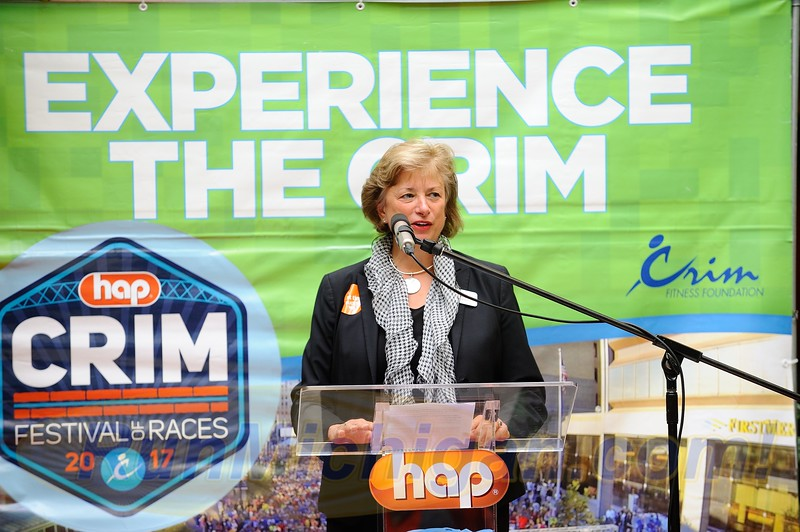 HAP CEO Terri Kline speaks at the 2017 HAP Crim Festival of Races Pre-Race Press Event in Flint Twp., Michigan on August 24, 2017.