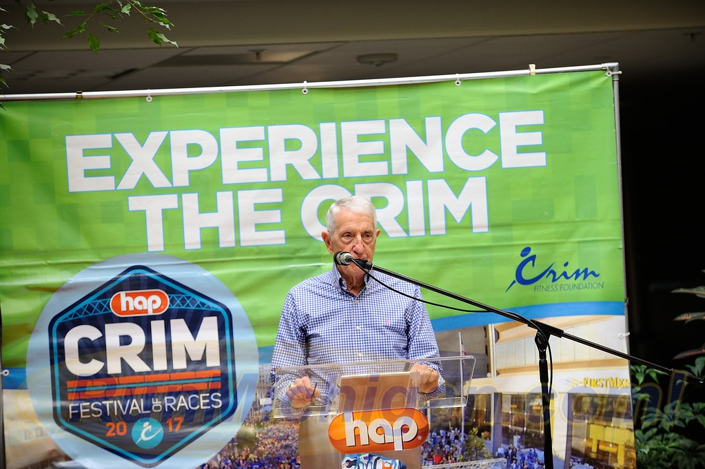 Race co-founder, Bobby Crim, speaking at the 2017 HAP Crim Festival of Races Pre-Race Press Event in Flint Twp., Michigan on August 24, 2017.