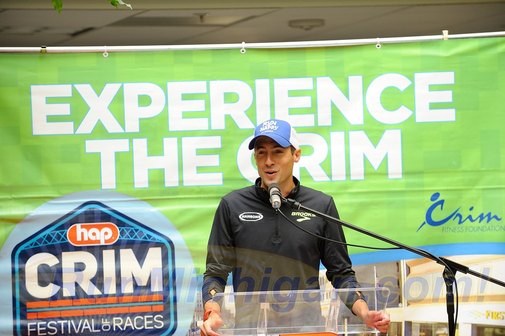 New Hansons-Brooks Distance Project team member and 2016 Crim 10 Mile Champion Dathan Ritzenhein, speaking at the 2017 HAP Crim Festival of Races Pre-Race Press Event in Flint Twp., Michigan on August 24, 2017.