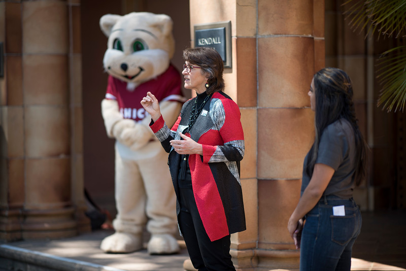 President Gayle Hutchinson speaks in front of Kendall Hall during the Class of 2017 time capsule burial on Tuesday May 2, 2017 in Chico, Calif. Graduating students placed symbolic items into the time capsule, which is buried and will not be reopened until the year 2067. <br /> (Jessica Bartlett/ Photographer)