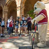 Willie the Wildcat helps bury the Class of 2017 time capsule on Tuesday May 2, 2017 in Chico, Calif. Graduating students placed symbolic items into the time capsule, which is buried and will not be reopened until the year 2067. <br /> (Jessica Bartlett/ Photographer)