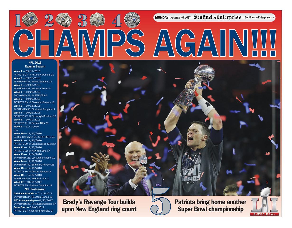 2017 Sentinel & Enterprise Patriots front page