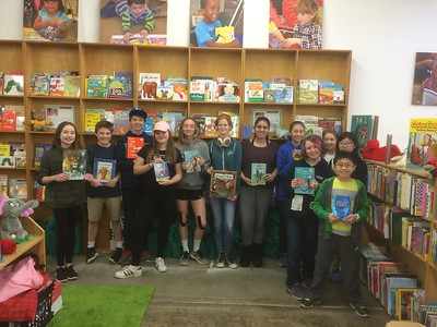 Middle Schoolers at the Children's Book Bank.