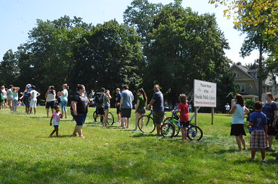 Leah McDonald - Oneida Daily Dispatch Hundreds turn out to the future site of the Oneida Public Library on Monday, Aug. 21, 2017, to see the Great American Solar Eclipse. Local viewers got to see about 70 percent coverage of the sun.