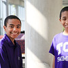 TCU students Carson Huey, 14,  his little brother, <br /> Cannan, 11, with their mom, Claretta Kimp,