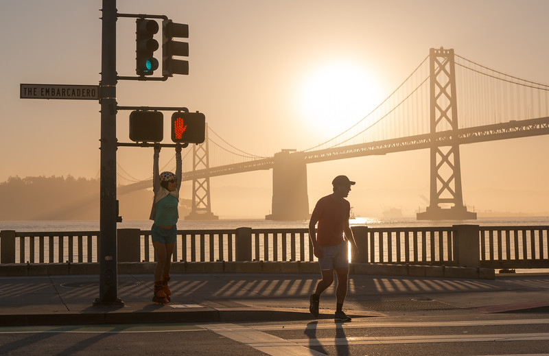 A Big Hand at Embarcadero. San Francisco Bay Bridge.