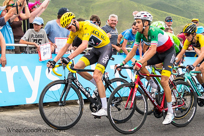 Roman Bardet, the eventual stage winner, focused and wondering why no one is cheering for him...they must be American...;)  Photos from Stage 12 of the 2017 Tour de France (Pau to Peyragudes). Taken from the Izorad hospitality area with about 400 meter to go.  Nikon D500 Tamron SP 24-70mm f/2.8 Di VC