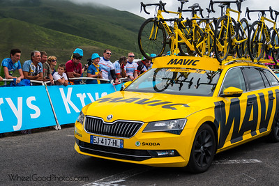 The Mavic neutral service car.  Photos from Stage 12 of the 2017 Tour de France (Pau to Peyragudes). Taken from the Izorad hospitality area with about 400 meter to go.  Nikon D500 Tamron SP 24-70mm f/2.8 Di VC