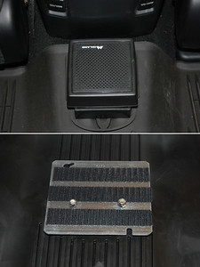 """2017 4Runner: Midland 21-406 extension speaker, mounted through the rear floor hump liner.  Top picture is speaker in use, bottom picture is the underside of the mount as seen from the bottom.  The mount is a cover for an electrical box.  The electrical box cover and speaker bracket """"sandwich"""" the floor liner and the velcro grips the carpet under the floor liner to keep the assembly from shifting."""