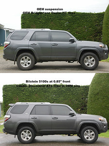 2017 4Runner: comparison between OEM suspension and tires and Bilstein 5100 suspension and Cooper Discoverer T3 tires  Also shows 20% front window tint