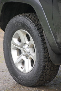 2017 4Runner: Cooper Discoverer AT3 tires in OEM size  Later replaced with up-sized Firestone Destination AT tires.
