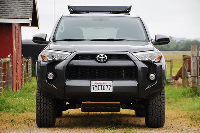 2017 4Runner: RockyMounts 14'er roof basket, RCI aluminum skid plate  Basket was later replaced with a Yakima Loadwarrior w/ extension